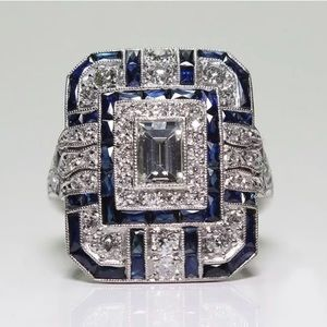 Jewelry - New! Sapphire & White Topaz Silver Cocktail Ring